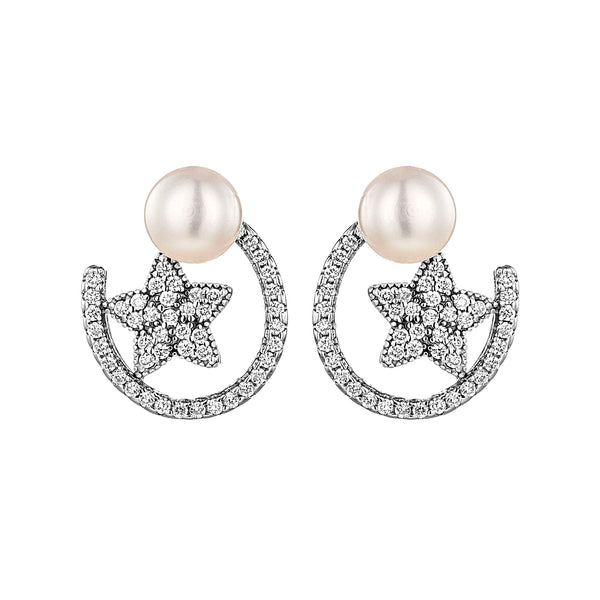 Floating Star Crystal Stud Earrings with Fresh Water Pearl in Sterling Silver