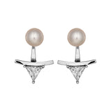 Sparkling Drop Triangle Stud Earrings with Fresh Water Pearl in Sterling Silver