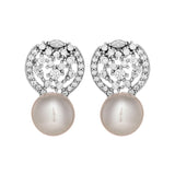 Sparkling Universe Crystal Stud Earrings with Fresh Water Pearl in Sterling Silver