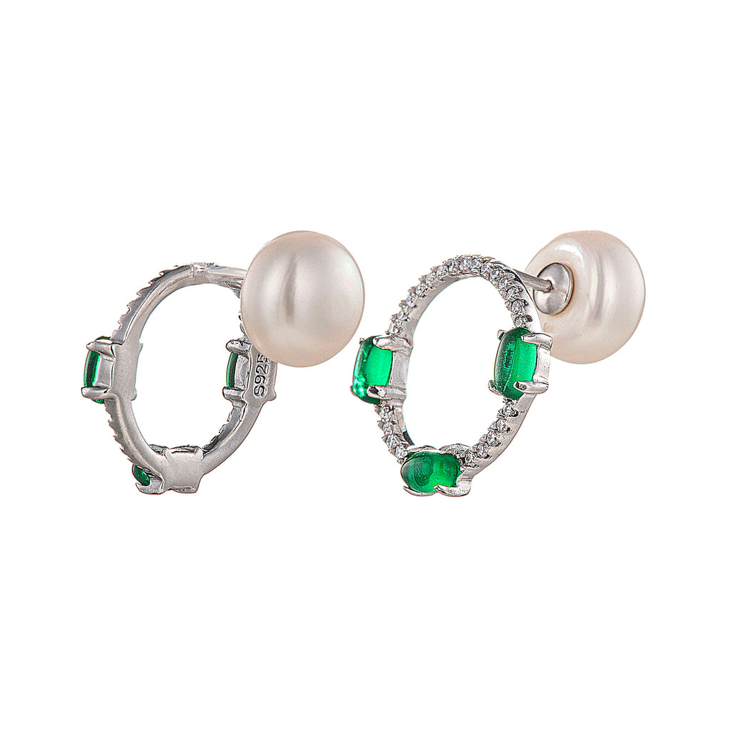 Emerald Green Hoop Circle Crystal Stud Earrings with Fresh Water Pearl in Sterling Silver