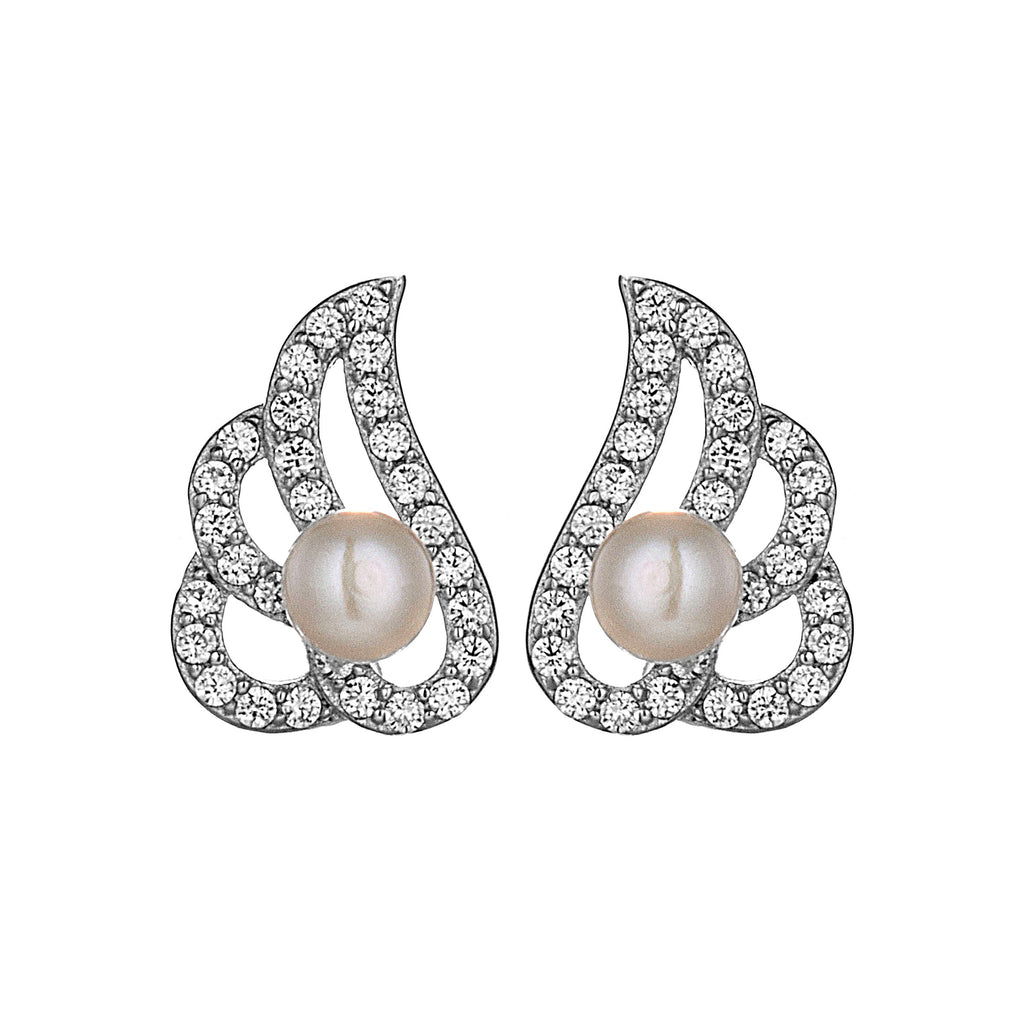 Cute Angel Wings Stud Earrings with Fresh Water Pearl in Sterling Silver