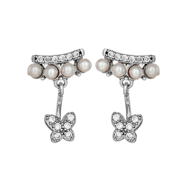 Fresh Water Pearl Beads Cluster Stud Earrings with Drop Butterfly in Sterling Silver