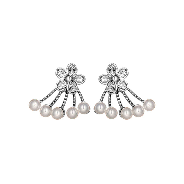 Flower Blossom Stud Earrings with Fresh Water Pearl in Sterling Silver