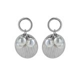 Double Circle Drop Sterling Silver Earrings with Mother of Pearl