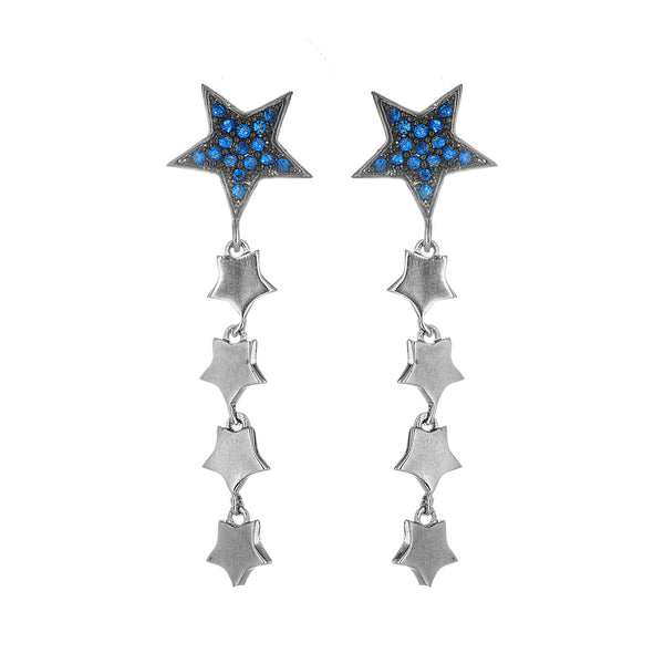 Flowing Stars Drop Earrings in Sterling Silver