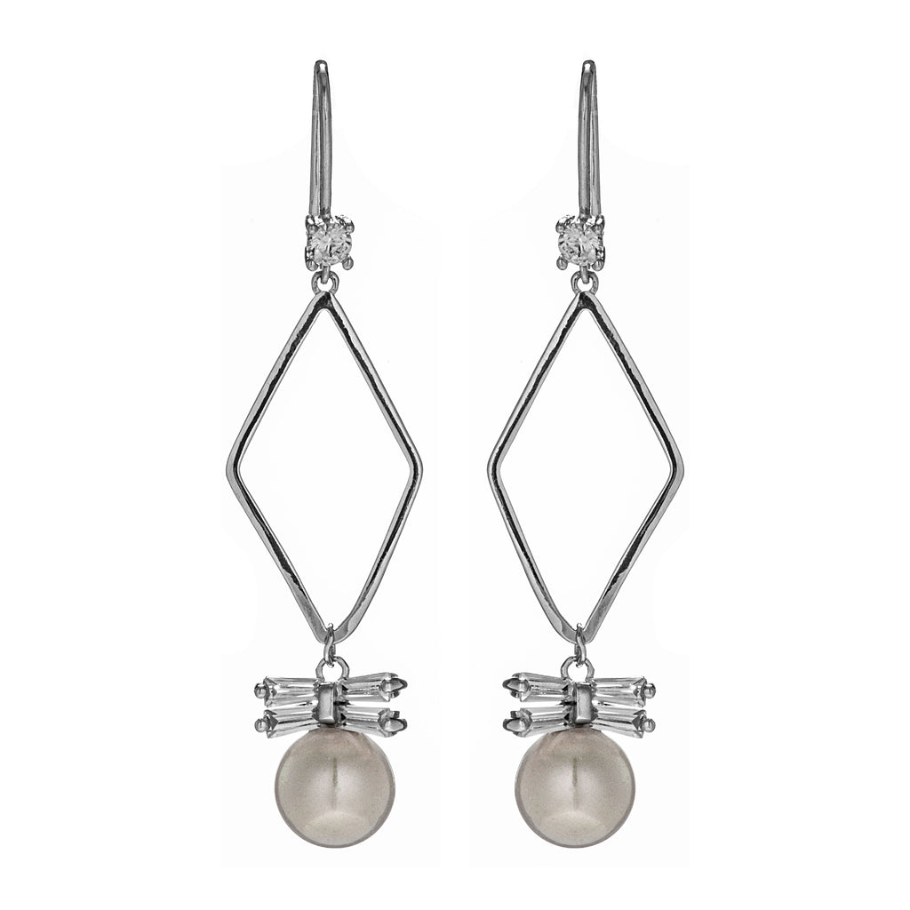 White Fresh Water Pearl Earrings with Diamond Hoop Design in Sterling Silver