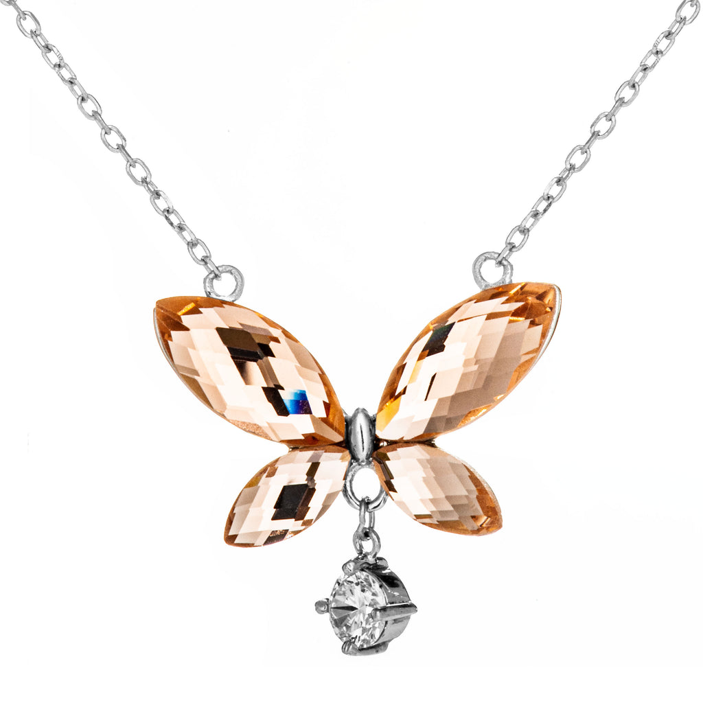 Butterfly with Dangling Clear Crystal Necklace with Champagne Crystal in Sterling Silver