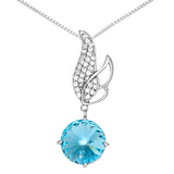 Aqua Blue Angel Wing Spring Sprout Necklace in Sterling Silver