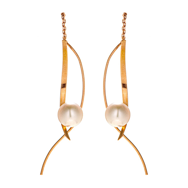 18K Gold Unique Wavy Threader Earrings with White Akoya Sea Water Pearl