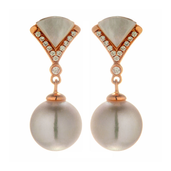 18K Gold Akoya White Sea Water Pearl Earrings with White Mother of Pearl & Diamond