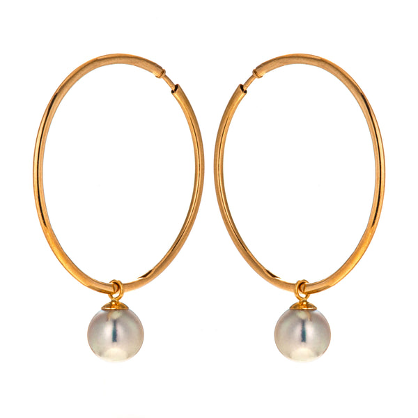 18K Gold Round Hoop Earrings with Japanese Madama Akoya Pearl Bluish Grey Color