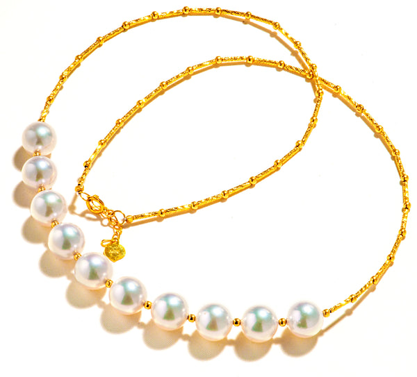 Beautiful 18K Gold Necklace with Shinny Akoya Sea Water Pearl