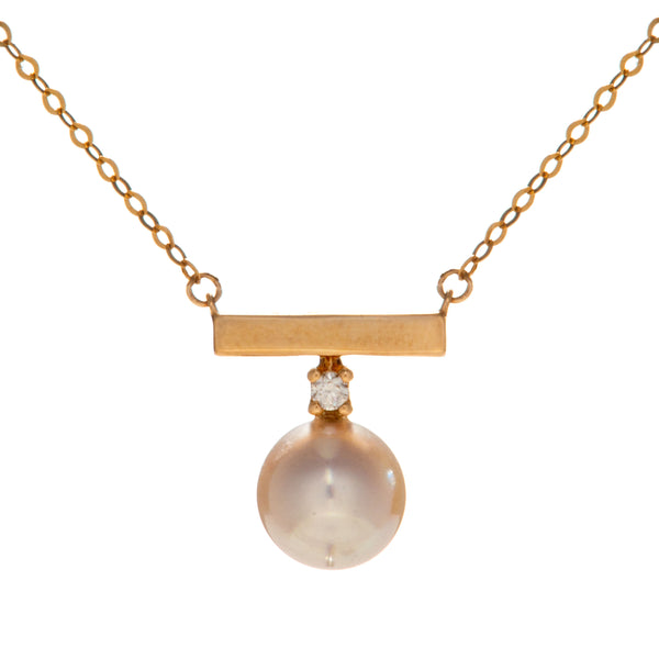 18K Gold White Akoya Sea Water Pearl Necklace with Balance Beam Diamond