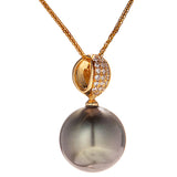 18k Gold Tahiti Black Sea Water Pearl Necklace with Delicate Diamond