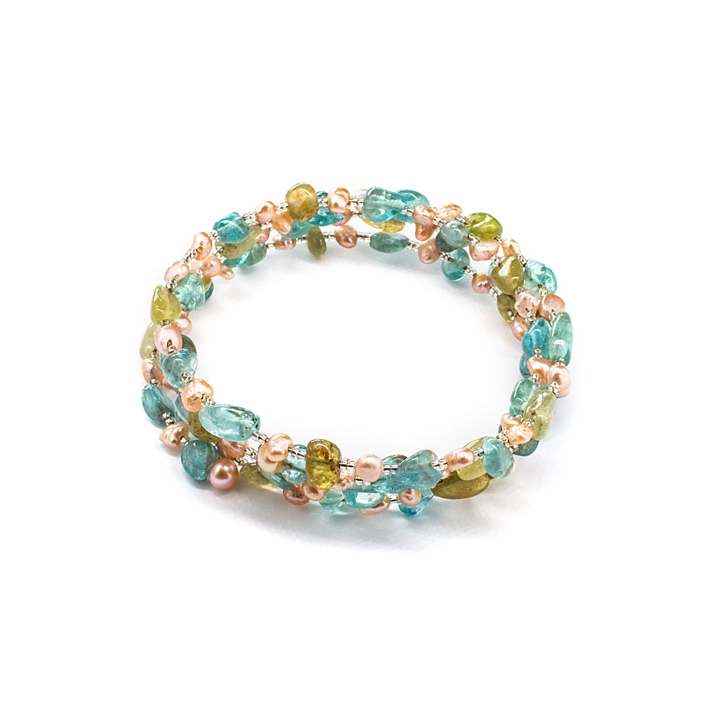 Adjustable Fresh Water Pearl Bracelet with Peridot and Apatite