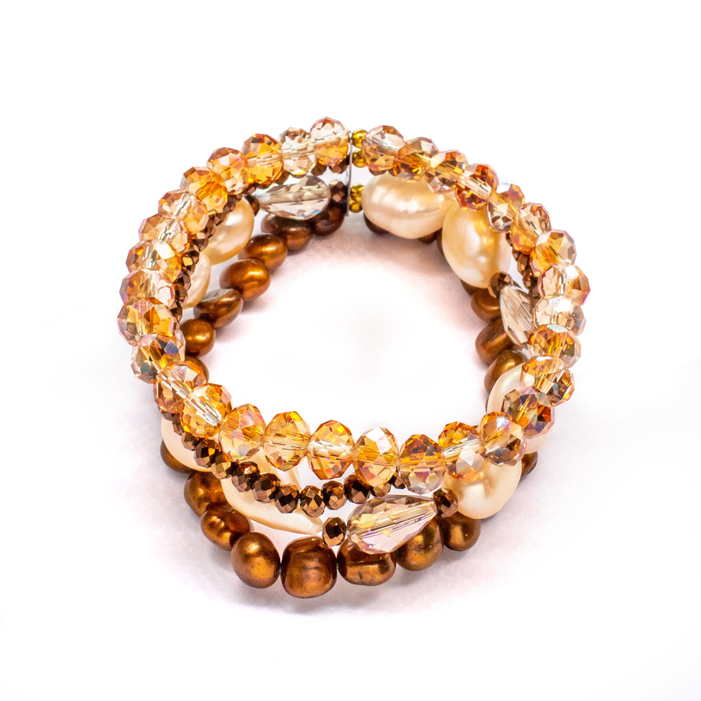 Adjustable Fresh Water Pearl Bracelet Band with Champagne Pale Orange Crystals