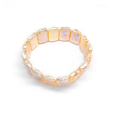 White Dazzling Square Fresh Water Pearl Elastic Bracelet