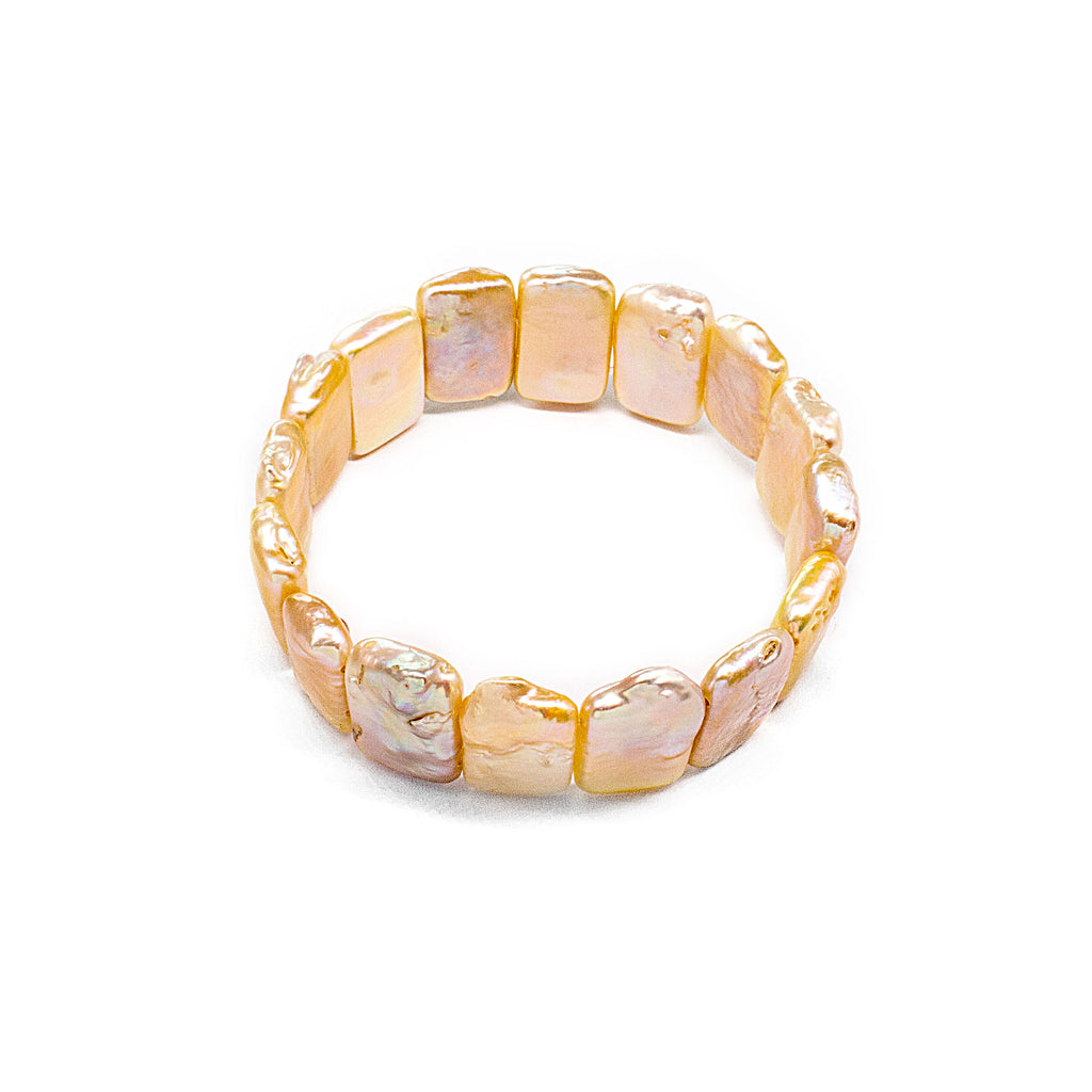 Pinkish White Dazzling Square Fresh Water Pearl Bracelet