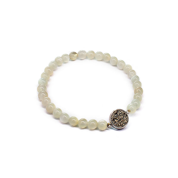 Angelic White Clear Moon Stone Beads Elastic Bracelet
