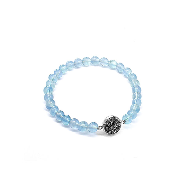 Clear Blue Fluorite Natural Stone Beads Elastic Bracelet