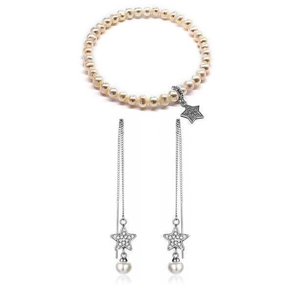 White Fresh Water Pearl Beads Elastic Bracelet & Ear Line Set with Star pendant in Sterling Silver