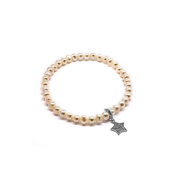 Cute White Fresh Water Pearl Beads Elastic Bracelet with Star