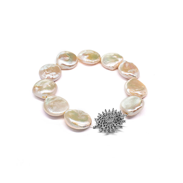 White Natural Shaped Fresh Water Pearl Elastic Bracelet