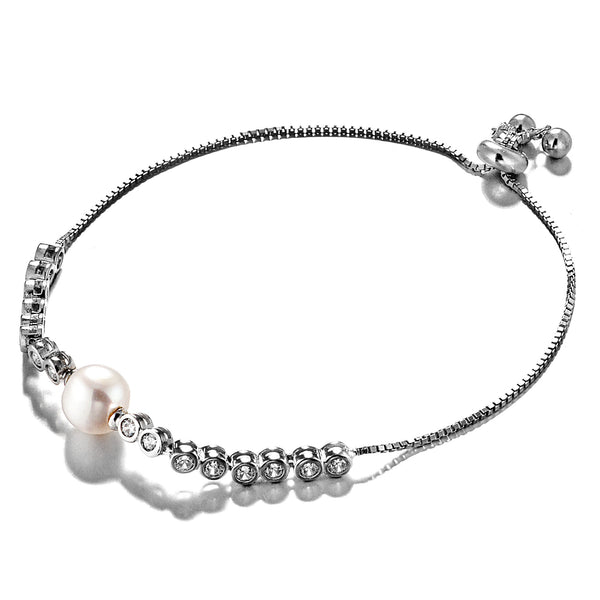 Fresh Water Pearl Bracelet with Clear Crystal Toggle in Sterling Silver