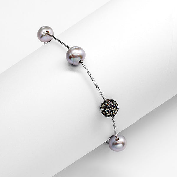 Grey Fresh Water Pearl Beads Bracelet in Sterling Silver