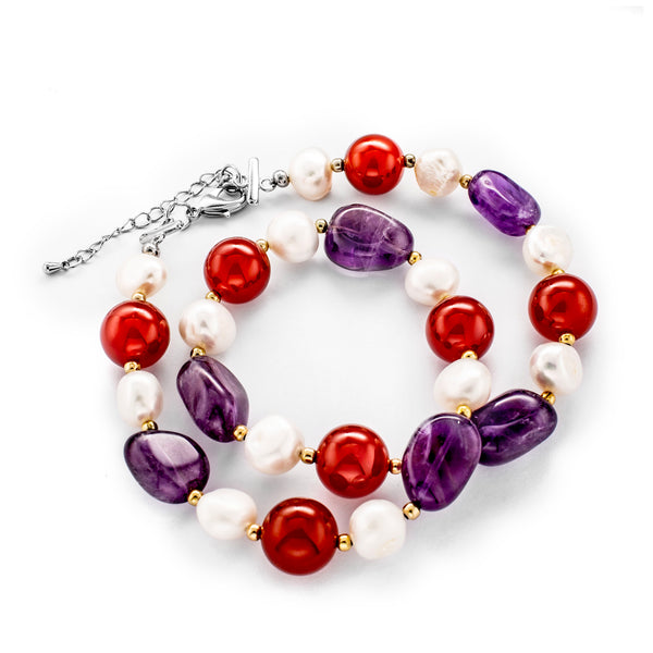 February Birthstone Amethyst, Pearl & Carnelian Necklace and Wrist Band One Set Natural Stone
