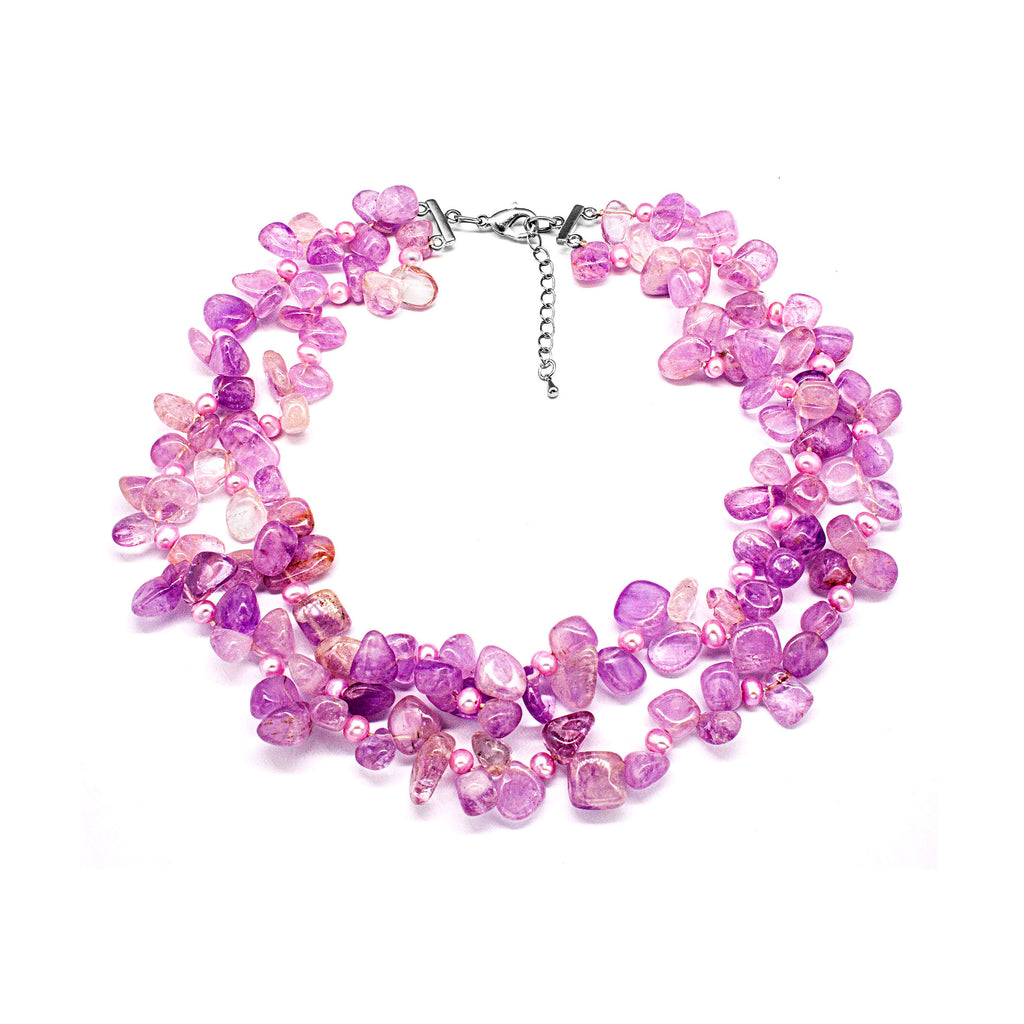 February Birthstone Amethyst & Pearl Long Necklace  Natural Stone