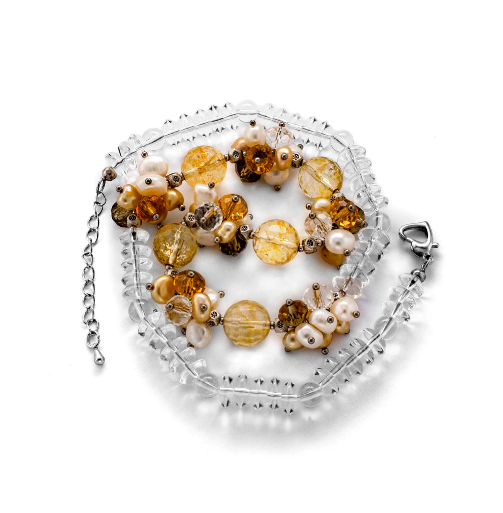 Pearl, Crystal, Citrine & Clear quartz Necklace Natural Stone