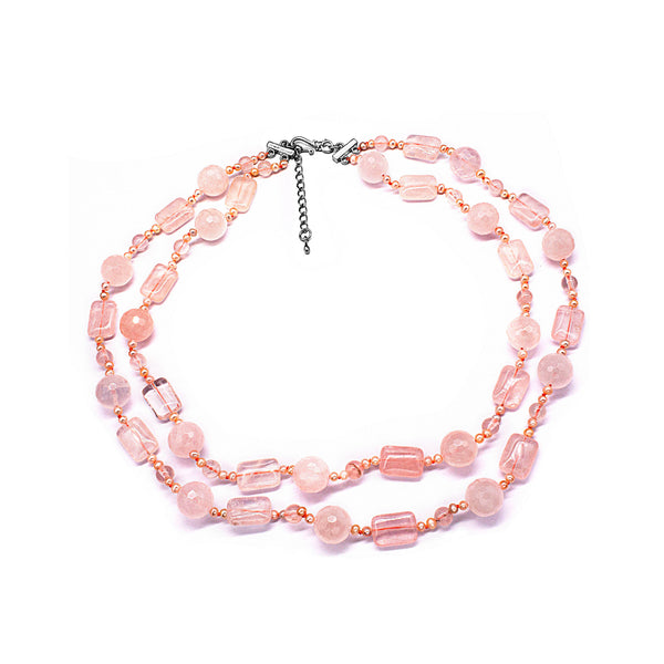 Beautiful Rose Quartz & Fresh Water Pearl Long Necklace  Natural Stone