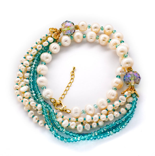 Fresh Water Pearl, Aqua Crystal Multi-layered Necklace Natural Stone