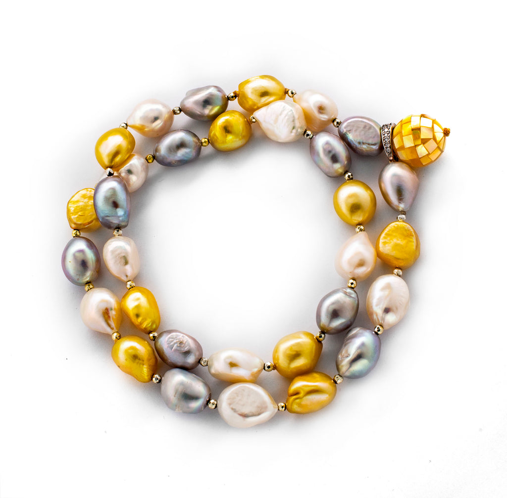 Grey Yellow White Fresh Water Pearl & Mother of Pearl Necklace with Adjustable Buckle