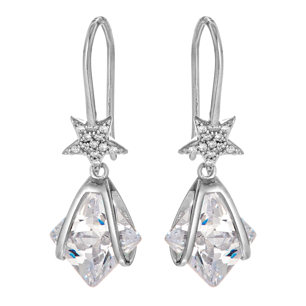 Star & Teardrop Cushion Cut Drop Earrings in Sterling Silver