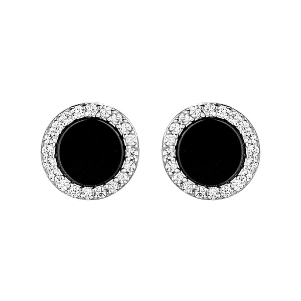 Black & White Crystal Round Button Stud Earrings in Sterling Silver