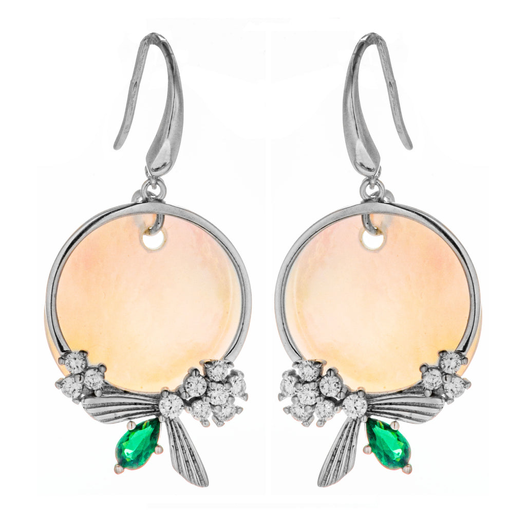 Mismatch Bow Green Clear Crystal Drop Earrings with Shell in Sterling Silver