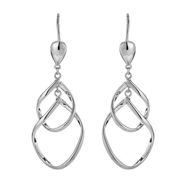 Sterling Silver Double Twist Wavy Drop Earrings