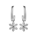 Gorgeous Flower Simple Half Hoop Drop Earrings with Clear Crystal in Sterling Silver