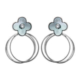 Lucky Flower Clover Circle Drop Earrings with Mother of Pearl in Sterling Silver