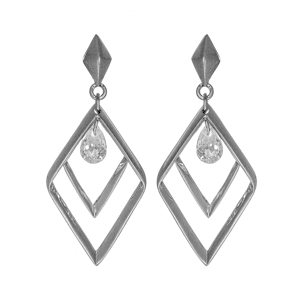Double Diamond Shaped Hollow Out Spining Earrings in Sterling Silver