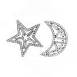Star & Moon Stud Earrings in Sterling Silver