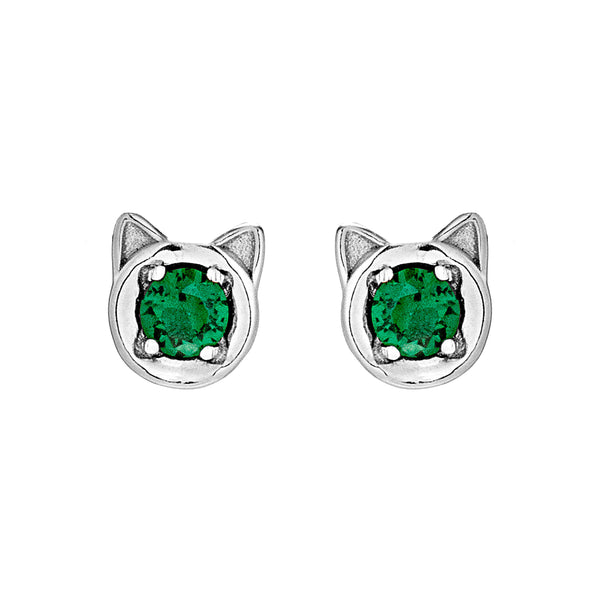 Cute Kitten Head Face Stud Earrings with Emerald Green Crystal in Sterling Silver