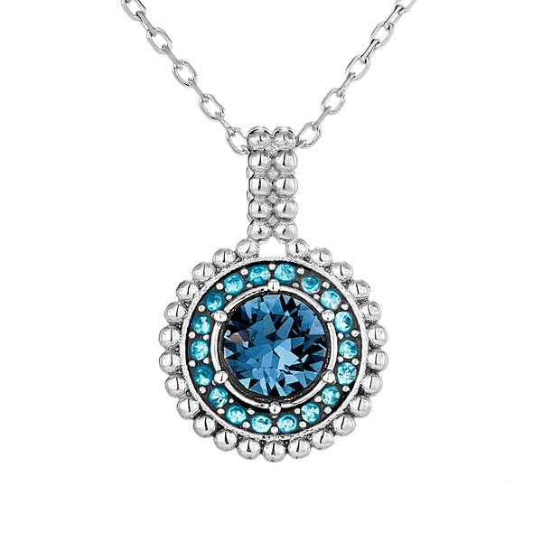 Multicolor Circle Blue Crystal Pendant Necklace in Sterling Silver