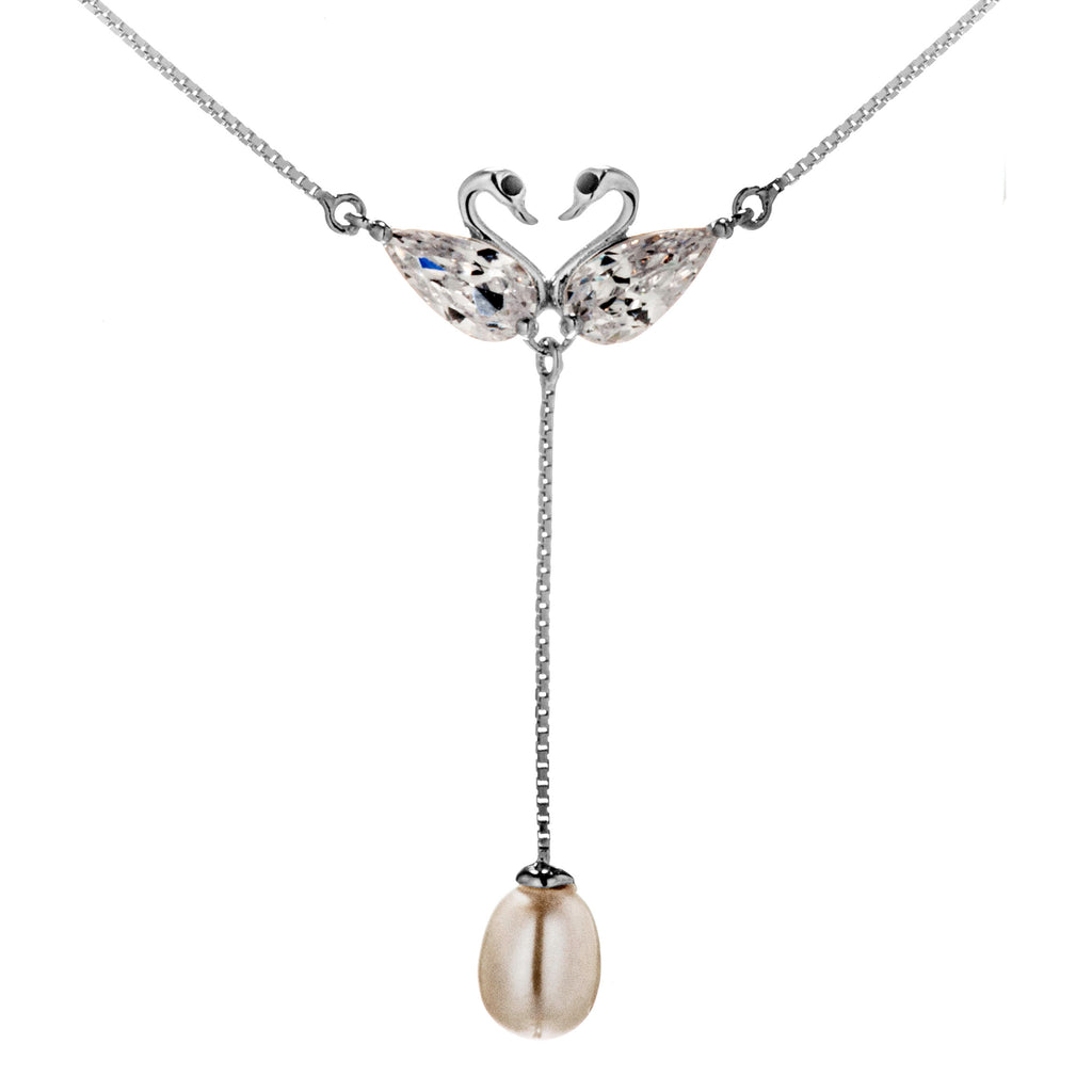 Romantic Swan Couple, Dangling Mother of Pearl Necklace with Clear Crystal in Sterling Sivler
