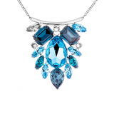 Chuncky Sapphire Blue Light Dark Crystal Floral Drop Necklace in Sterling Silver