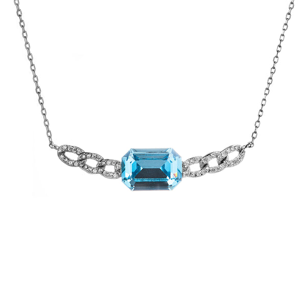 Linked Chain with Blue Lagoon Pendant Necklace in Sterling Silver