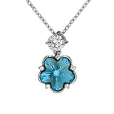 Flower Aqua Blue Crystal Necklace in Sterling Silver