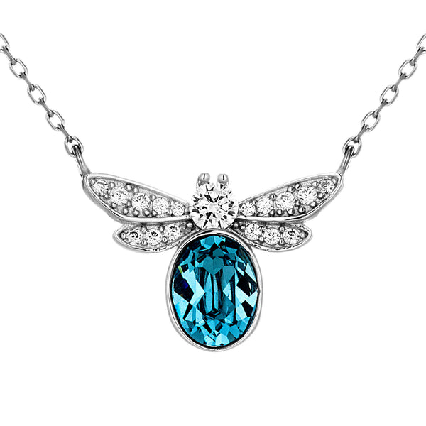 Dragonfly Blue Crystal Teardrop Necklace in Sterling Silver